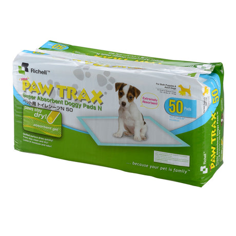 "Richell Paw Trax Pet Training Pads 50 Count White 17.7"" x 23.6"" x 0.2"" - ViTaiLity Pet Supply"