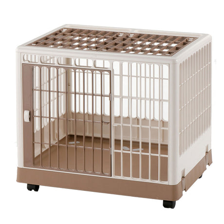 "Richell Pet Training Kennel PK-650 White / Mocha 25.4"" x 19.7"" x 22"" - ViTaiLity Pet Supply"