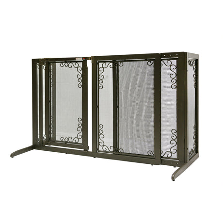 "Richell Deluxe Freestanding Mesh Pet Gate Brown 52.2"" - 69.1"" x 27"" x 36.2"" - ViTaiLity Pet Supply"