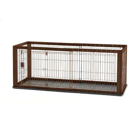 "Richell Expandable Pet Crate with Floor Tray Small Brown 35.4"" - 60.6"" x 23.6"" x 24"" - ViTaiLity Pet Supply"