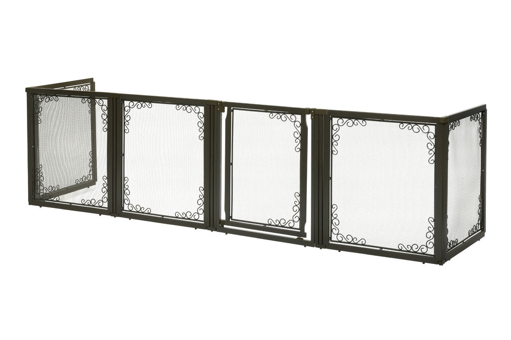 "Richell Convertible Elite Mesh Pet Gate 6 Panels Brown 130"" - 134"" x 31.7"" - 33.7"" x 35.8"" - ViTaiLity Pet Supply"