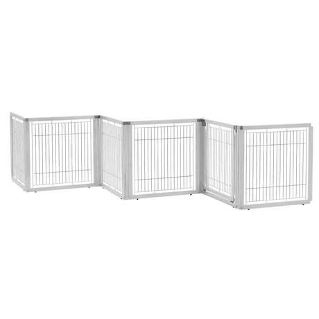 "Richell Convertible Elite Freestanding Pet Gate 6-Panel Origami White 135.8"" x 29.1"" x 31.5"" - ViTaiLity Pet Supply"