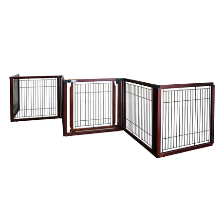 "Richell Convertible Elite Freestanding Pet Gate 6-Panel Cherry Brown 135.8"" x 29.1"" x 31.5"" - ViTaiLity Pet Supply"