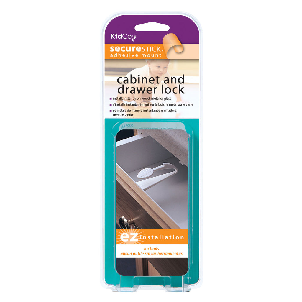 Kidco Adhesive Mount Cabinet and Drawer Lock 1 pack White - ViTaiLity Pet Supply