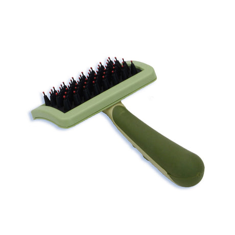 "Safari Nylon Coated Tip Dog Brush for Shorthaired Breeds Green 6.75"" x 4"" x 1"" - ViTaiLity Pet Supply"