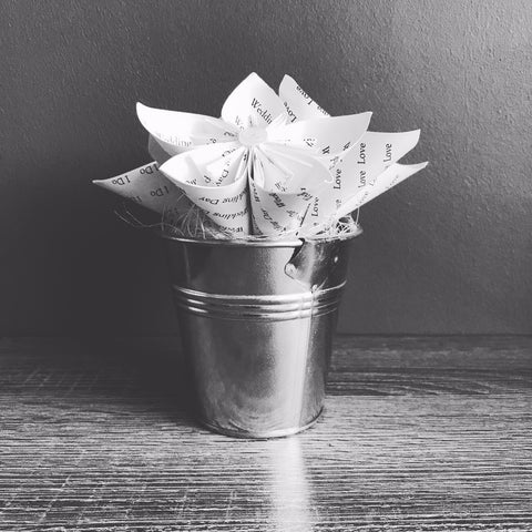Handmade Paper Flowers In Bucket