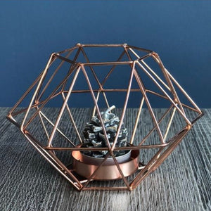 Copper Geometric Tealight Holder