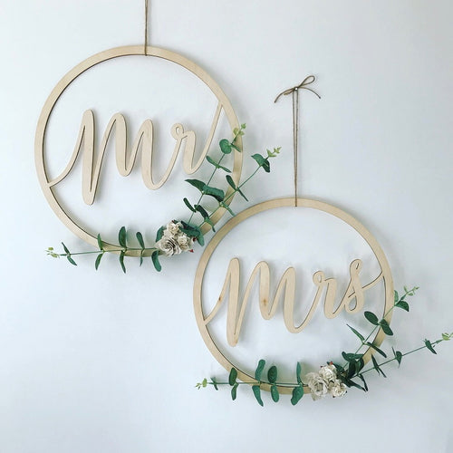 Mr & Mrs Wooden Hanging Signs