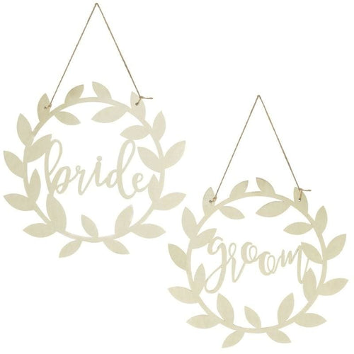 GINGER RAY Bride and Groom Wooden Chair Signs