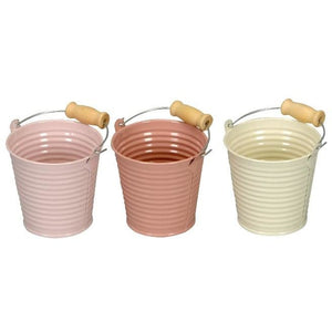 Set Of 3 Mini Pastel Metal Buckets