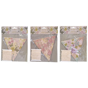 Set Of 3 Vintage Floral Flag Bunting