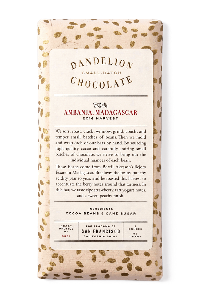 Dandelion Chocolate Chocolate Bar Ambanja, Madagascar 70% 2016 Harvest Single-Origin Chocolate Bar -