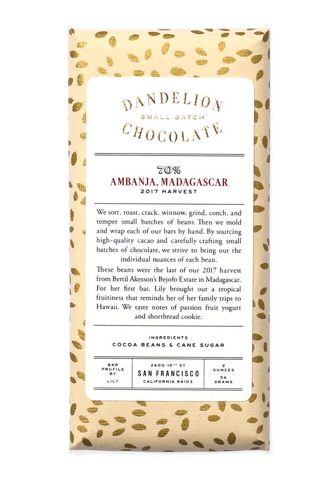 Dandelion Chocolate Chocolate Bar Ambanja, Madagascar 70% 2017 Harvest Single-Origin Chocolate Bar