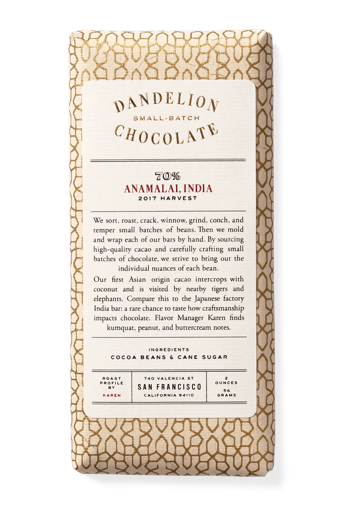 Dandelion Chocolate Chocolate Bar Anamalai, India 70% 2017 Harvest Single-Origin Chocolate Bar -