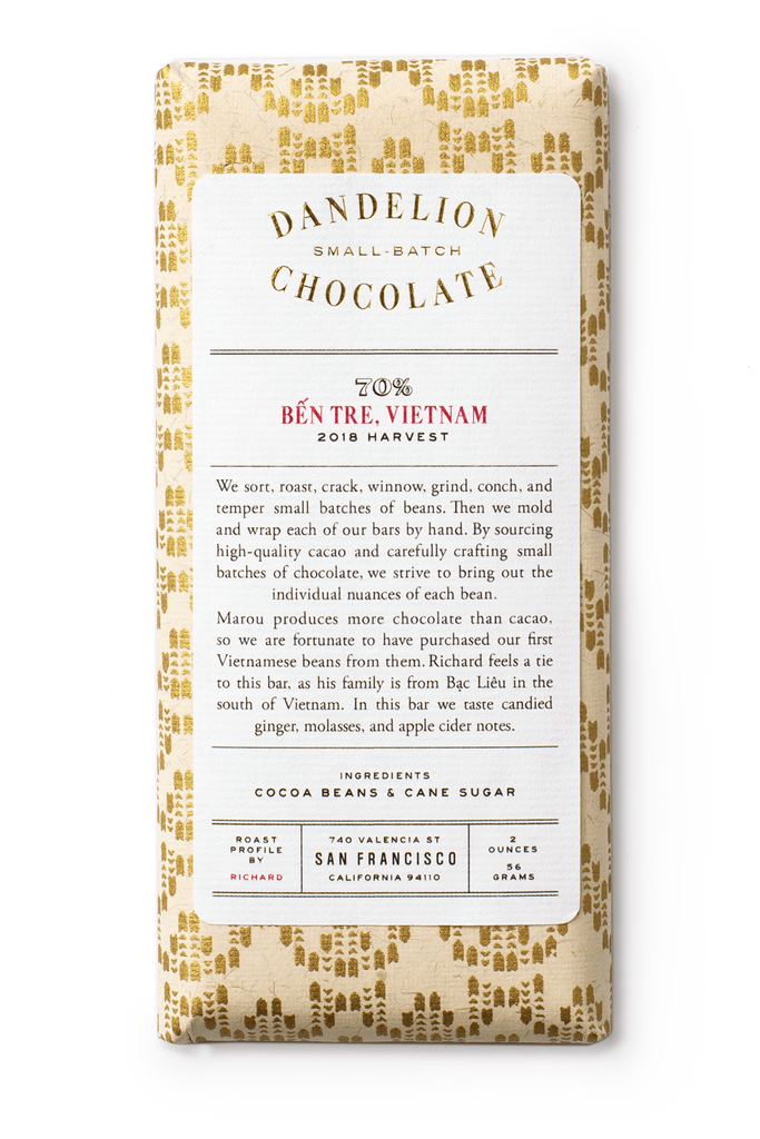 Dandelion Chocolate Chocolate Bar Ben Tre, Vietnam 70% 2018 Harvest Single-Origin Chocolate Bar