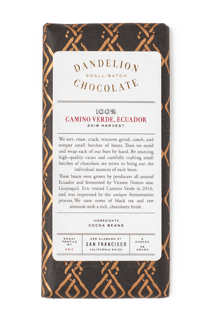 Dandelion Chocolate Chocolate Bar Camino Verde, Ecuador 100% 2018 Harvest Single-Origin Chocolate Bar -