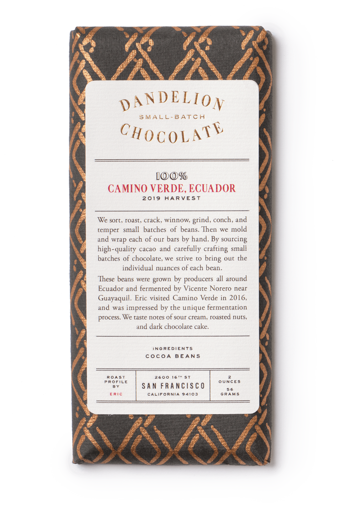 Dandelion Chocolate Chocolate Bar Camino Verde, Ecuador 100% 2019 Harvest Batch 2 Single-Origin Chocolate Bar