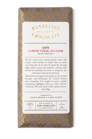 Dandelion Chocolate Chocolate Bar Camino Verde, Ecuador 85% 2018 Harvest Single-Origin Chocolate Bar -