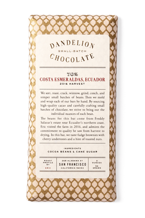 Dandelion Chocolate Chocolate Bar Costa Esmeraldas, Ecuador 70% 2016 Harvest Single-Origin Chocolate Bar -