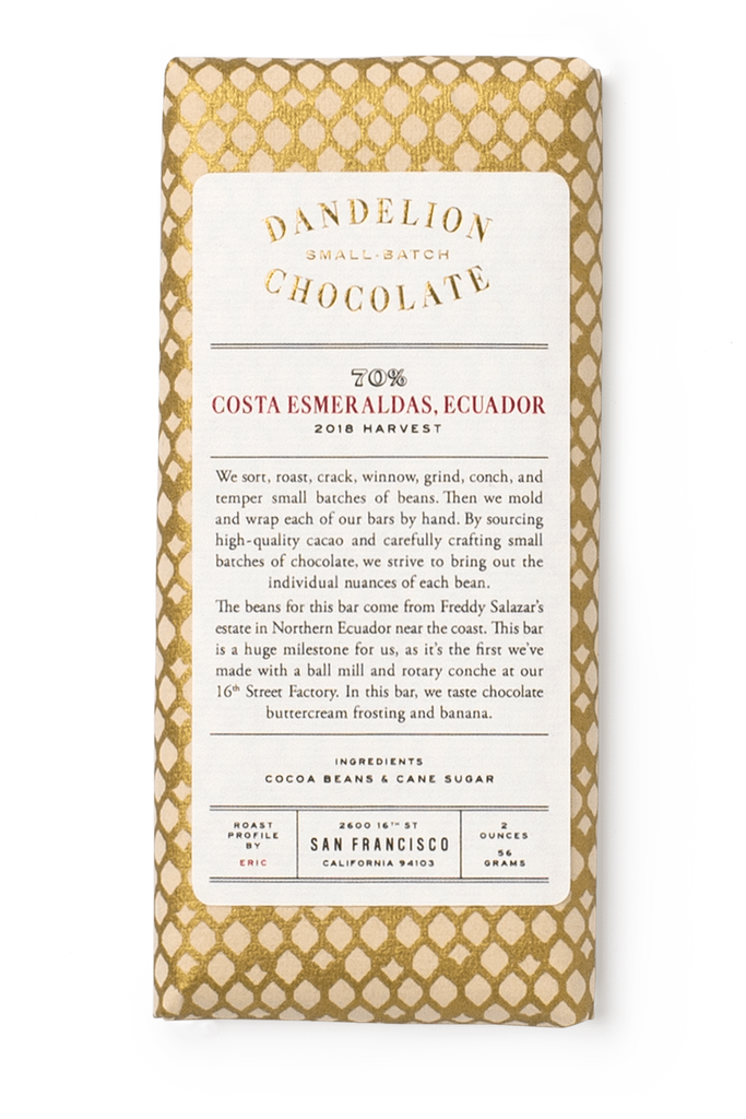 Dandelion Chocolate Chocolate Bar Costa Esmeraldas, Ecuador 70% 2018 Harvest Single-Origin Chocolate Bar