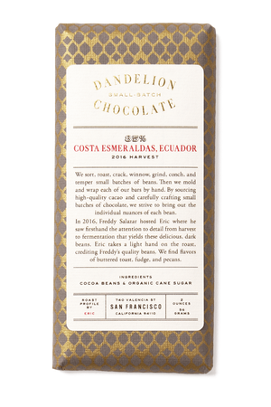 Dandelion Chocolate Chocolate Bar Costa Esmeraldas, Ecuador 85% 2016 Harvest Single-Origin Chocolate Bar -