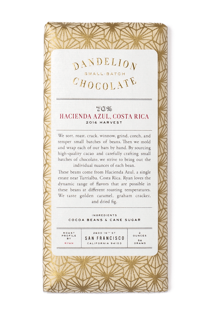 Dandelion Chocolate Chocolate Bar Hacienda Azul, Costa Rica 70% 2016 Harvest Single-Origin Chocolate Bar -