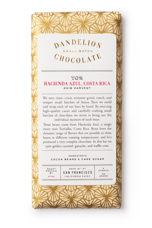 Dandelion Chocolate Chocolate Bar Hacienda Azul, Costa Rica 70% 2018 Single-Origin Chocolate Bar