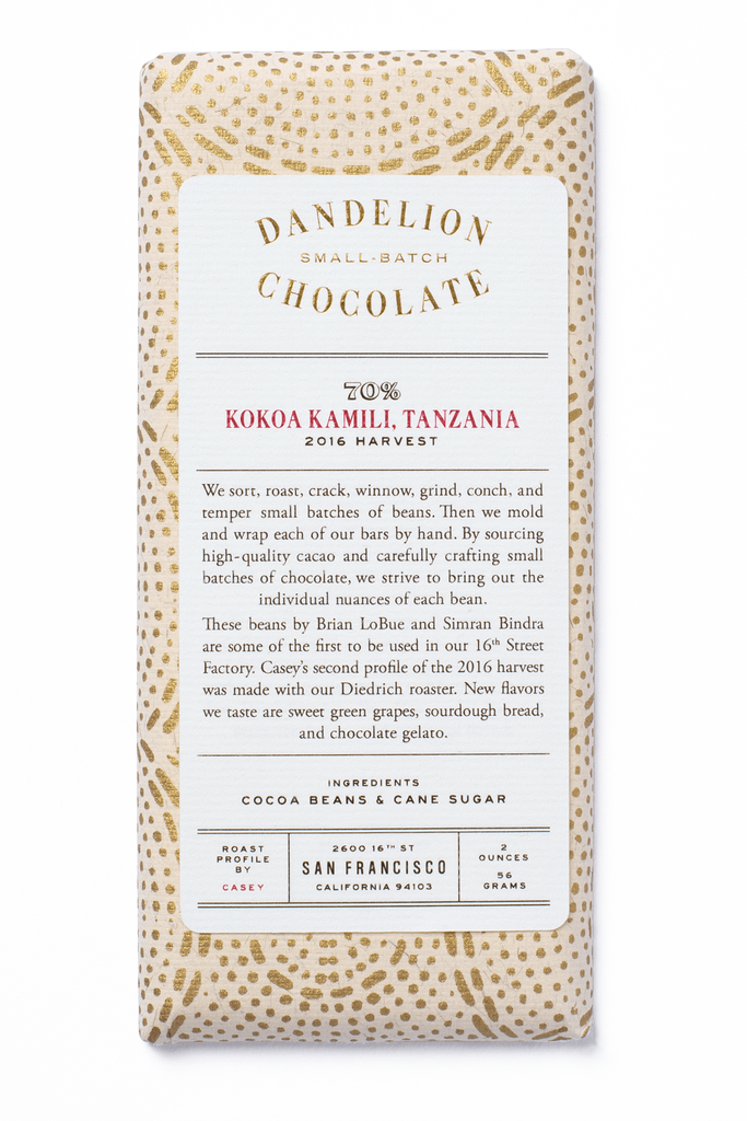 Dandelion Chocolate Chocolate Bar Kokoa Kamili, Tanzania 70% 2016 Harvest Batch 2 Single-Origin Chocolate Bar