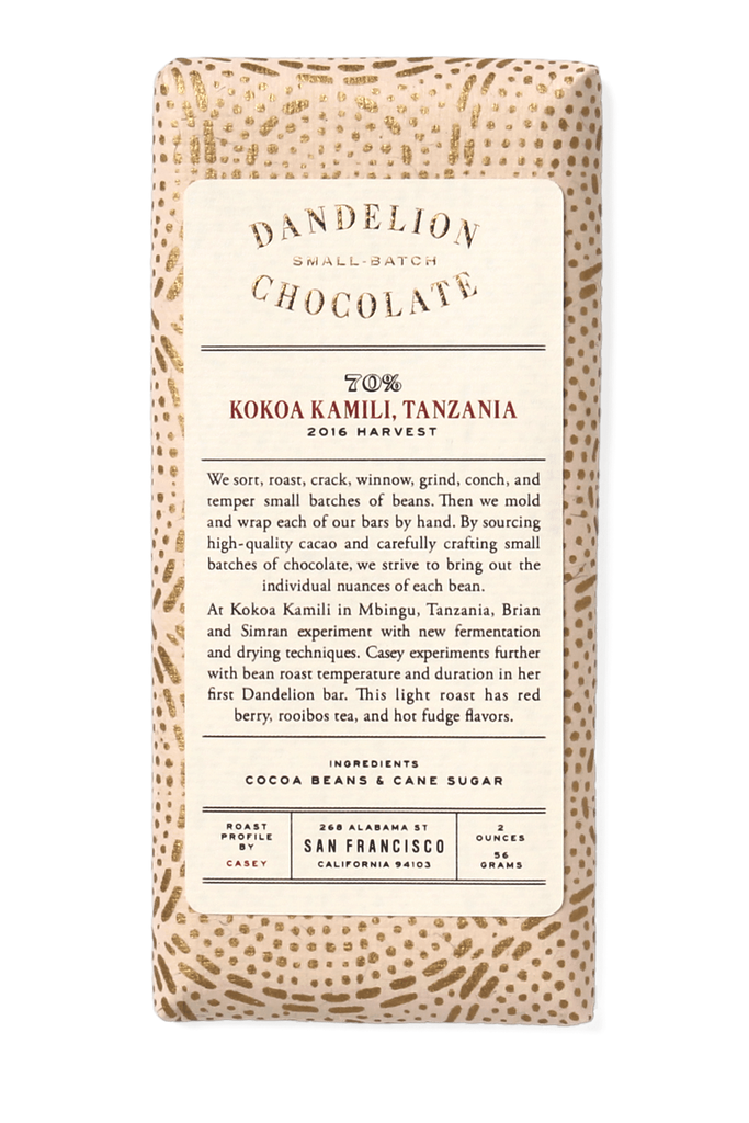 Dandelion Chocolate Chocolate Bar Kokoa Kamili, Tanzania 70% 2016 Harvest Single-Origin Chocolate Bar -