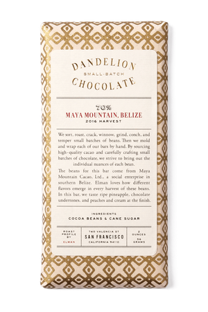 Dandelion Chocolate Chocolate Bar Maya Mountain, Belize 70% 2016 Harvest Single-Origin Chocolate Bar -
