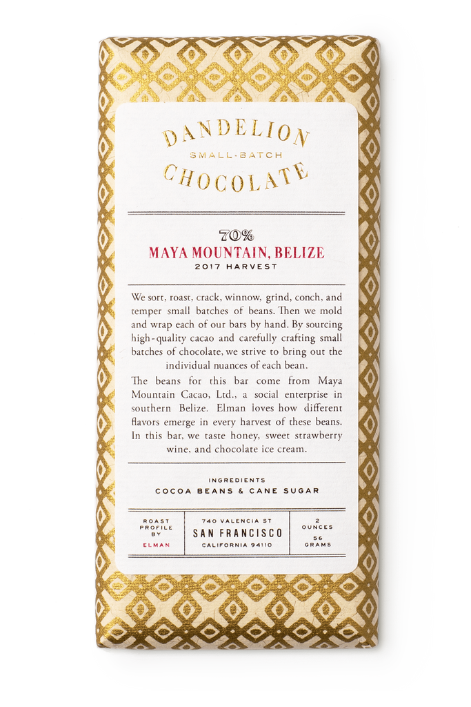 Dandelion Chocolate Chocolate Bar Maya Mountain, Belize 70% 2017 Harvest Single-Origin Chocolate Bar