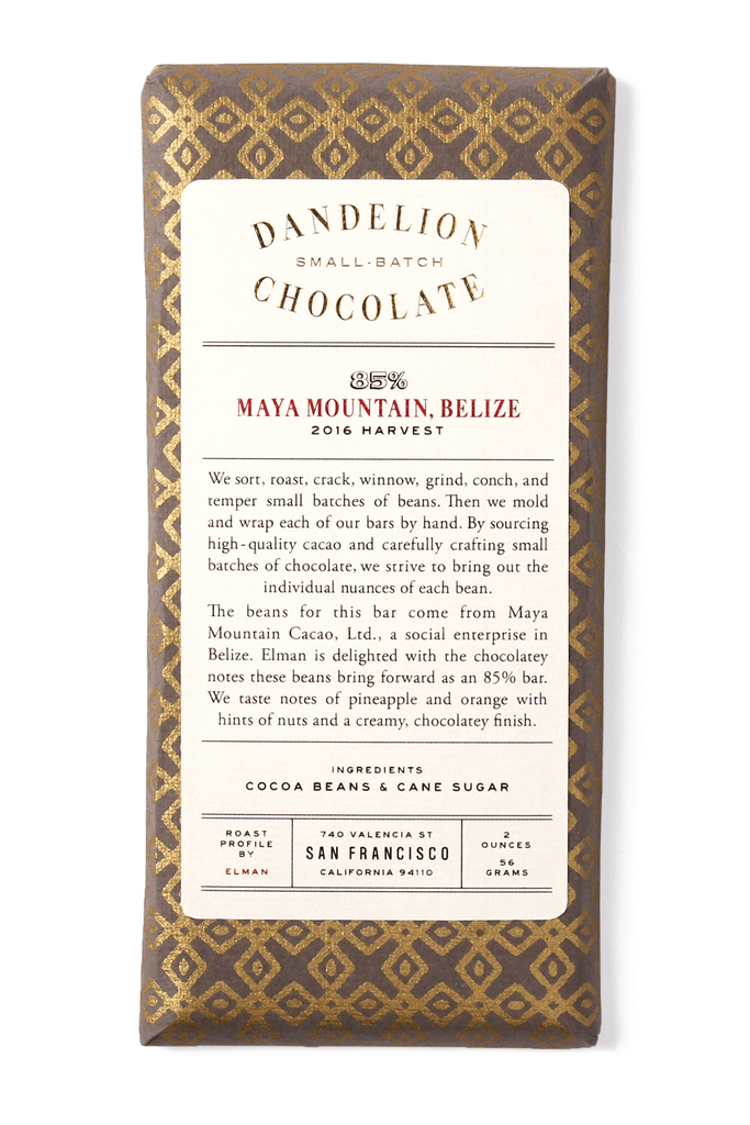 Dandelion Chocolate Chocolate Bar Maya Mountain, Belize 85% 2016 Harvest Single-Origin Chocolate Bar -
