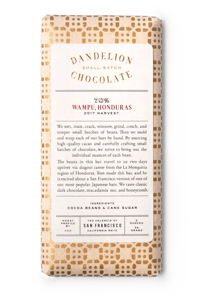 Dandelion Chocolate Chocolate Bar Wampu, Honduras 70% 2017 Harvest Single-Origin Chocolate Bar