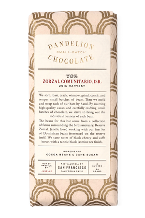 Dandelion Chocolate Chocolate Bar Zorzal Comunitario, Dominican Republic 70% 2016 Harvest -