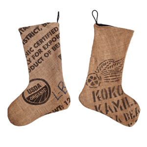 Dandelion Chocolate Gift Burlap Holiday Stockings -