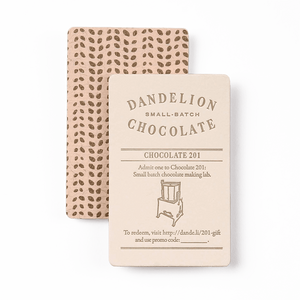 Dandelion Chocolate Gift Card Chocolate 201 Class Gift Card -