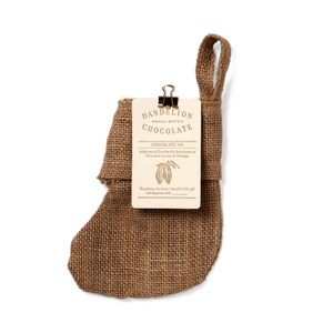 Dandelion Chocolate Gift Filled Mini Burlap Holiday Stockings Stocking + Chocolate 101 class gift card - $54 / -