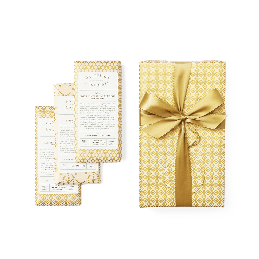 Dandelion Chocolate Gift Wrapped Three-Bar Gift Set -