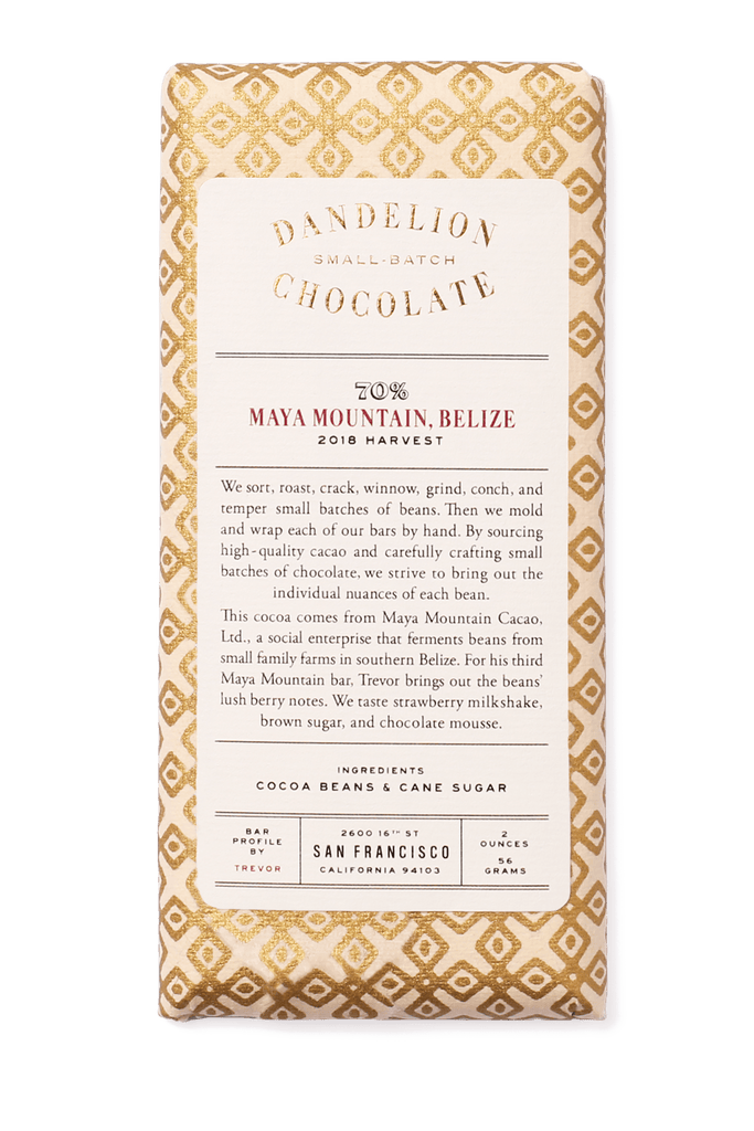 Dandelion Chocolate Maya Mountain, Belize 70% 2018 Harvest Single-Origin Chocolate Bar