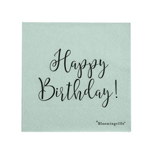 Serviette Happy Birthday, 25 x 25cm, dustymint