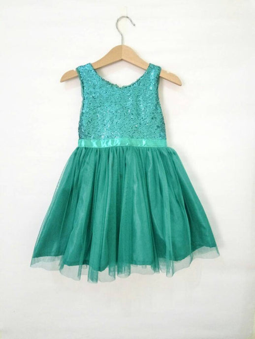Teal Flower Girl's dress with sparkly sequin bodice and tutu dress, birthday girl's dress, teal wedding theme, girl's dress