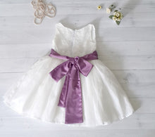 Satin and lace flower girl's dress, ivory or white girls dress, 50 sash color to choose, purple and white dress, tutu dress