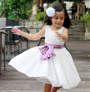 Flower Girl's Dress, Ivory white lace girl's dresses, pick your own sash color, over 50 sash colors available