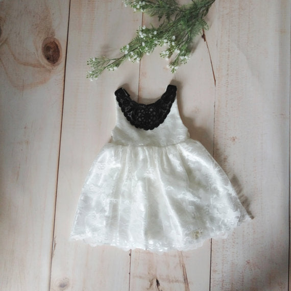 Black and White flower girl dress, Ivory white toddler dress, white lace girl's dress
