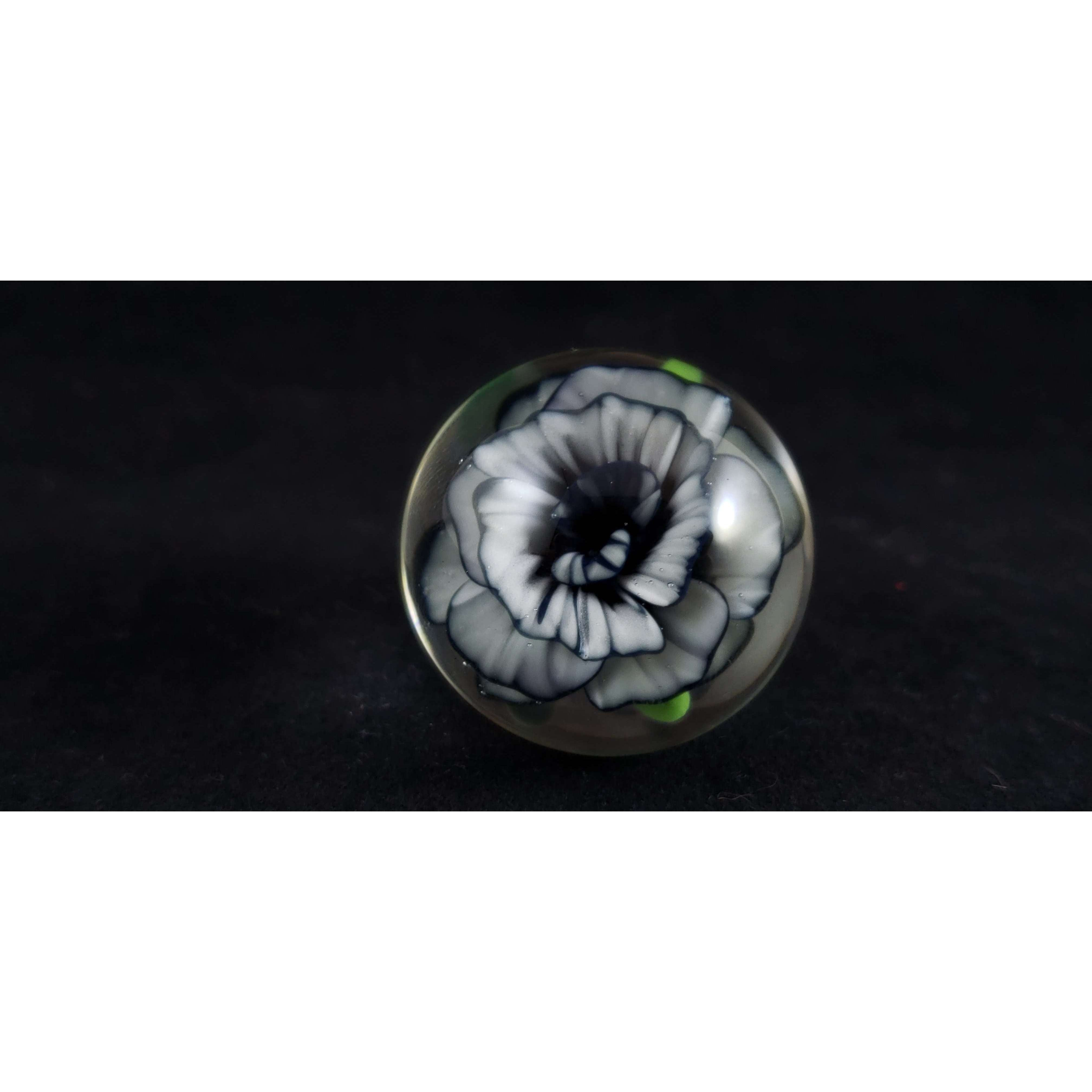 Darkness Rose Flower Marble Paperweight:Conscious Mind Glass Studio's