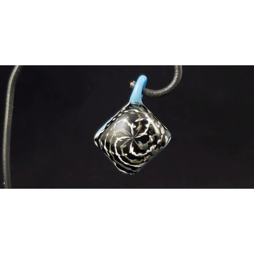 The Diamond vortex glass pendant:Conscious Mind Glass Studio's
