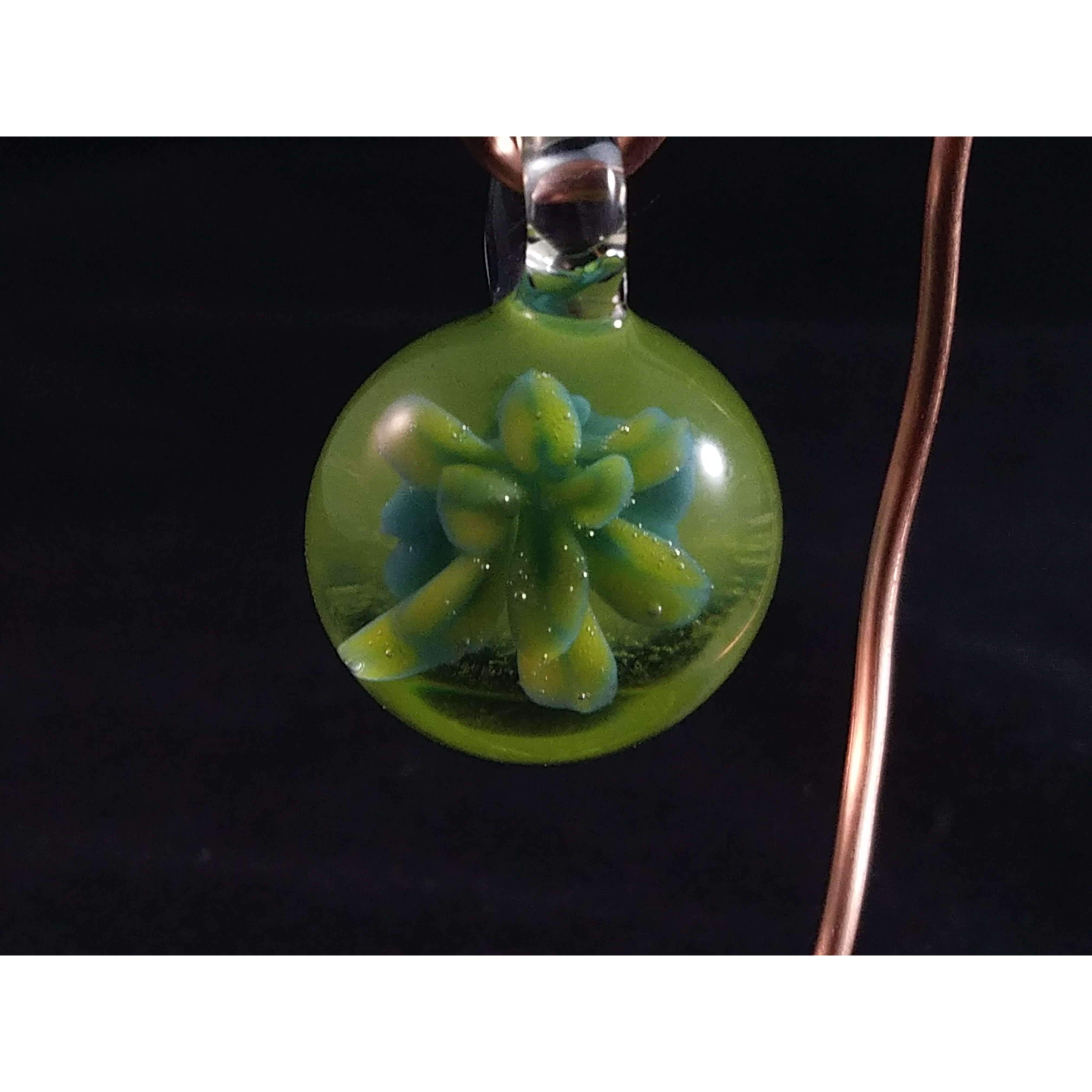 Green with Lily Borosilicate Glass Pendant:Conscious Mind Glass Studio's