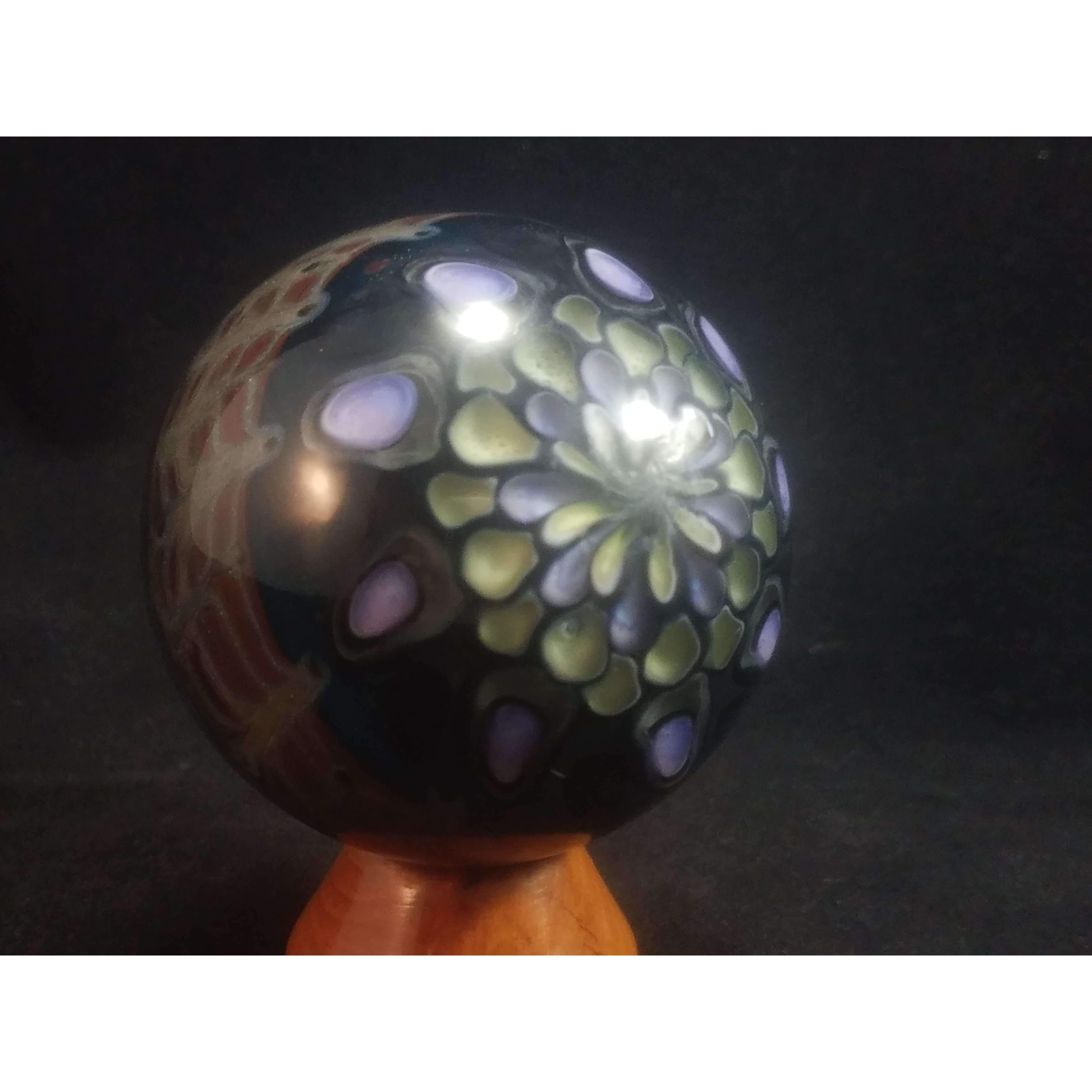 UV Reactive Black and White Vortex Marble:Conscious Mind Glass Studio's