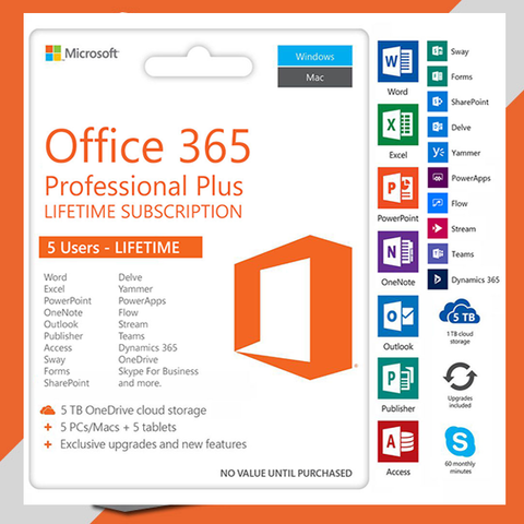 Microsoft Office 365 LIFETIME  Subscription 5 Users PC/Mac 2016