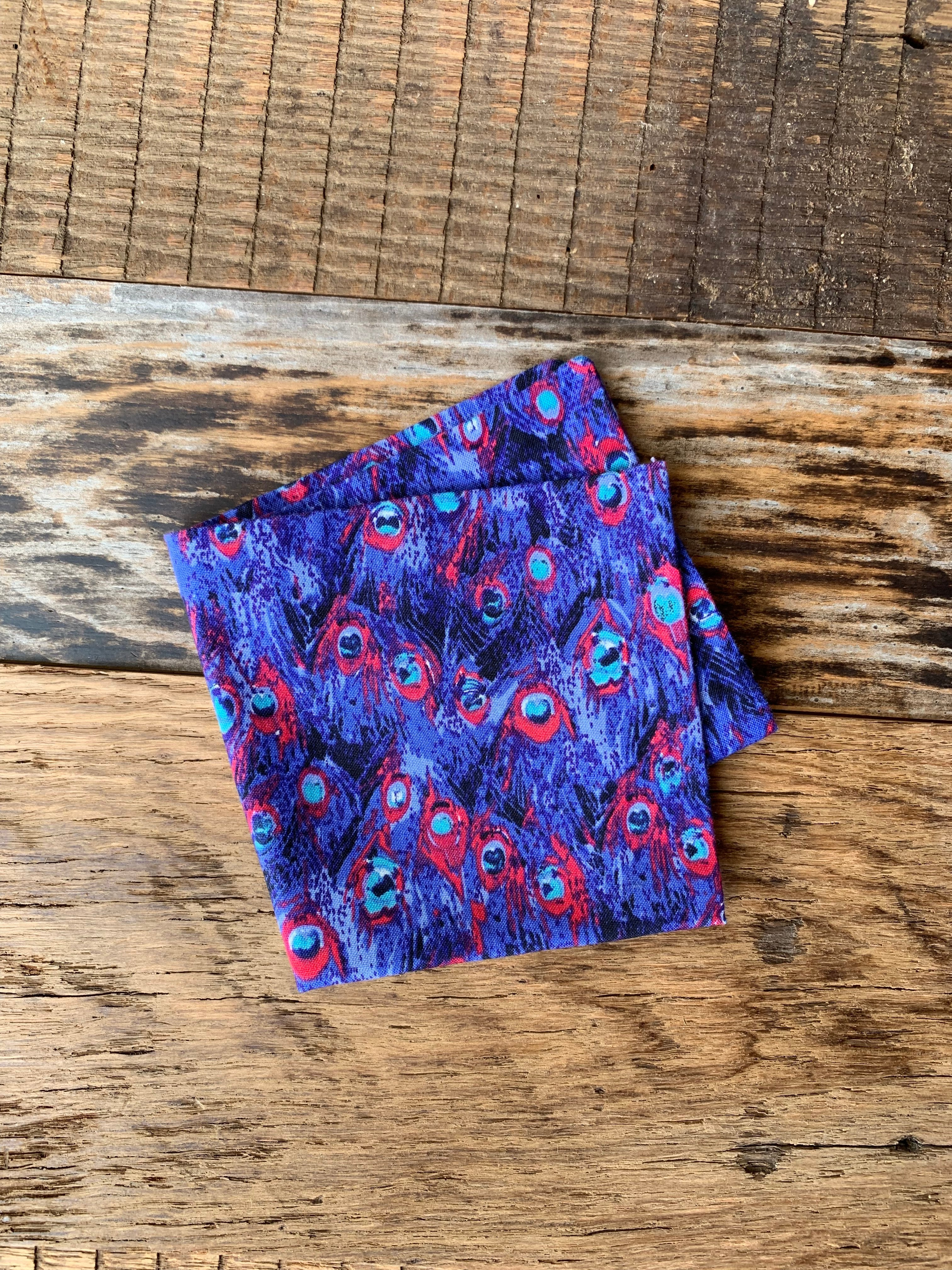 Popping Peacock Pocket Square